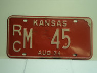 1974 KANSAS License Plate RC M 45