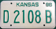 1996 Kansas Dealer License Plate D 2108 B
