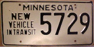 1980's Minnesota New Vehicle In Transit License Plate 5729