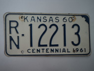1960 KANSAS 1961 Centennial License Plate RN 12213