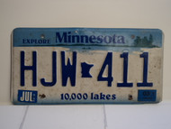 2003 MINNESOTA Explore 10,000 Lakes License Plate HJW 411