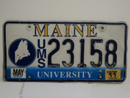 2011 MAINE UMS University License Plate 23158