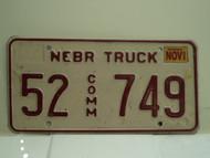 2002 NEBRASKA Commercial Truck License Plate 52 749