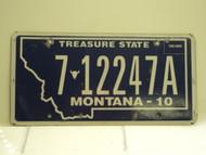 2010 MONTANA Treasure State License Plate 7 12247A