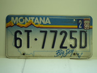 1999 MONTANA Big Sky License Plate  6T 7725D