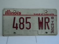 ILLINOIS Land of Lincoln B Truck License Plate 485 WR