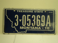 2010 MONTANA Treasure State License Plate 3 05369A