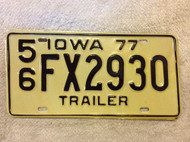 1977 Lee Co Iowa 56 FX2930 Trailer License Plate