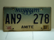 1997 MISSISSIPPI Blue Fade License Plate AN9 278