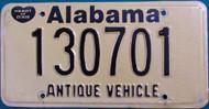 Alabama Antique Vehicle License Plate  130701 HOD