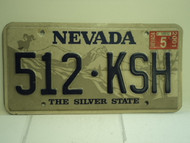 2001 NEVADA Silver State License Plate 512 KSH