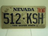2001 NEVADA Silver State License Plate 512 KSH