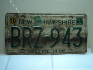 1999 NEW HAMPSHIRE Live Free or Die License Plate BRZ 943