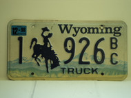 1998 WYOMING Bucking Bronco Truck License Plate 1 926 BC