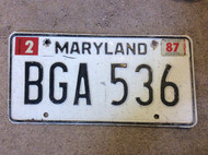February 1987 MARYLAND License Plate BGA-536