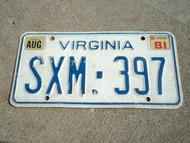 1981 VIRGINIA License Plate SXM 397