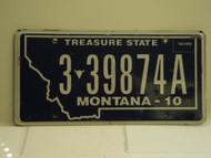 2010 MONTANA Treasure State License Plate 3 39874A