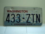 Washington Evergreen State License Plate 433 ZTN