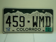 2012 COLORADO License Plate 459 WMD