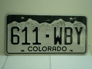 COLORADO License Plate 611 WBY