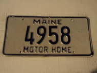 MAINE Motor Home License Plate 4958