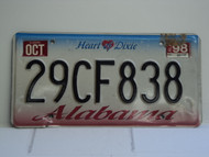 1998 ALABAMA Heart of Dixie License Plate 29CF838