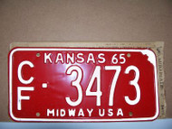 1965 Coffey Co Kansas CF 3473 Midway License Plate