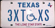 Texas 3XTXS Wheelchair Handicapped License Plate