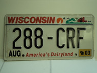 2003 WISCONSIN America's Dairyland License Plate 288 CRF