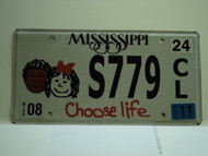 2011 MISSISSIPPI Choose Life License Plate S779 CL