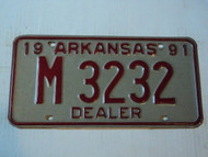 1991 ARKANSAS DEALER License Plate M 3232