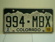2010 COLORADO License Plate 994 MBX