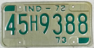 1972 1973 Indiana 45H9388 License Plate IND-72