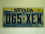 2003 NEVADA Silver State License Plate 065 XEW