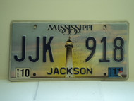 2011 MISSISSIPPI Lighthouse License Plate JJK 918