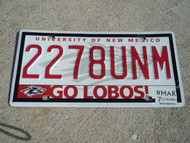 2008 NEW MEXICO University Go Lobos License Plate 2278UNM