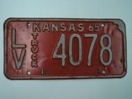 1965 KANSAS Truck License Plate LV 4078