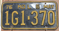 1976 May Missouri 1G1-370 License Plate DMV Clear YOM