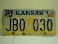 1999 KANSAS Truck 12M regular License Plate JB0 030