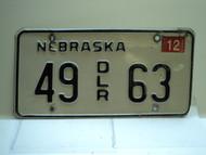 2005 NEBRASKA Dealer License Plate 49 DLR 63