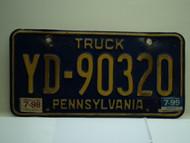 1998 1999 PENNSYLVANIA Truck License Plate YD 90320