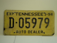 1994 TENNESSEE License Plate D 05979