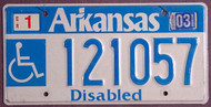 Arkansas Wheelchair 2003 License Plate