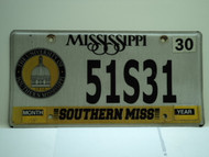 MISSISSIPPI Southern Miss University License Plate 51S31