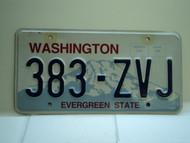 Washington Evergreen State License Plate 383 ZVJ
