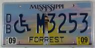 2009 Sep Mississippi DB M3253 License Plate