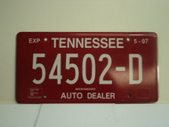 2007 TENNESSEE Auto Dealer License Plate 54502 D