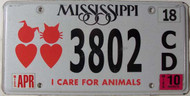 2010 Apr Mississippi Animals License Plate 3082 CD
