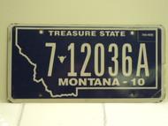 2010 MONTANA Treasure State License Plate 7 12036A