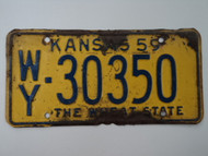 1959 KANSAS Wheat State License Plate WY 30350